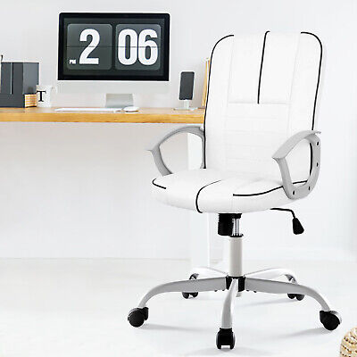Modern Executive Computer Conference Desk Office Task Chair White Faux Leather