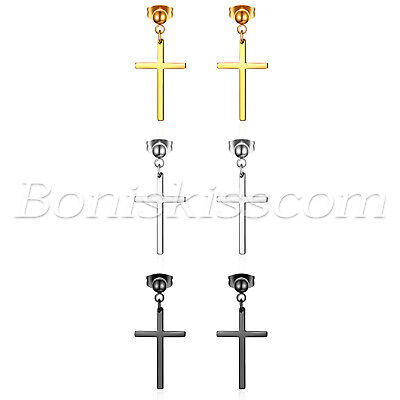 Dangling Stainless Steel Cross (6pcs Stainless Steel Cross Drop Dangle Earrings Studs Men Women Piercing Jewelry )