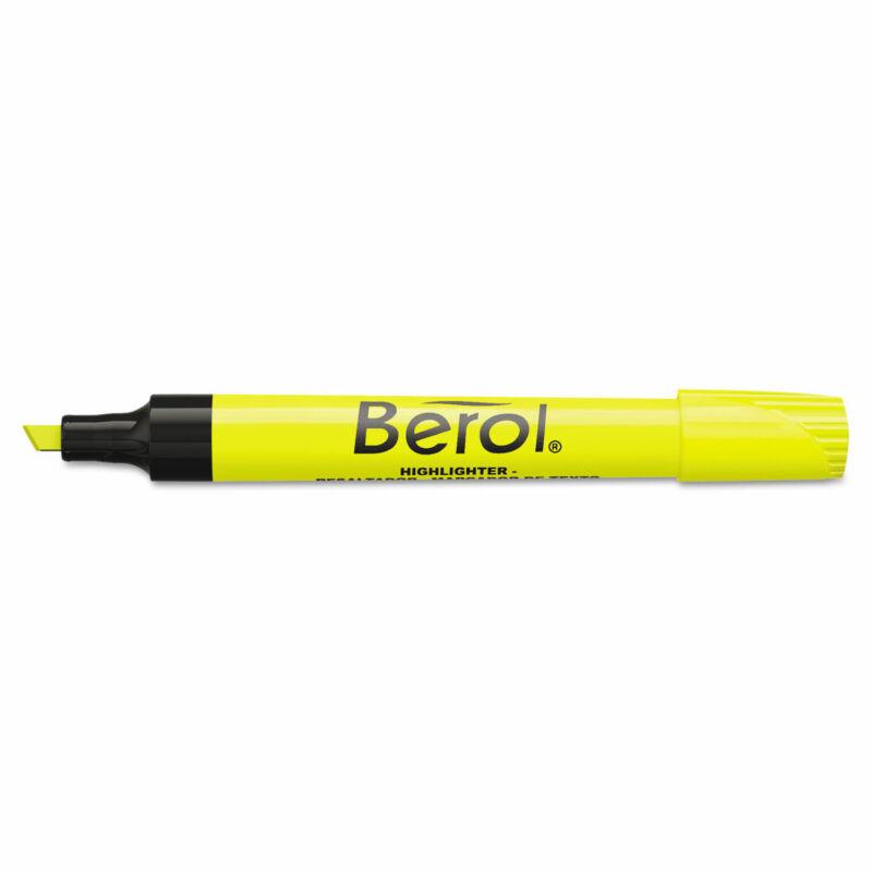 Berol 4009 Highlighter Chisel Tip Fluorescent Yellow Dozen 64324