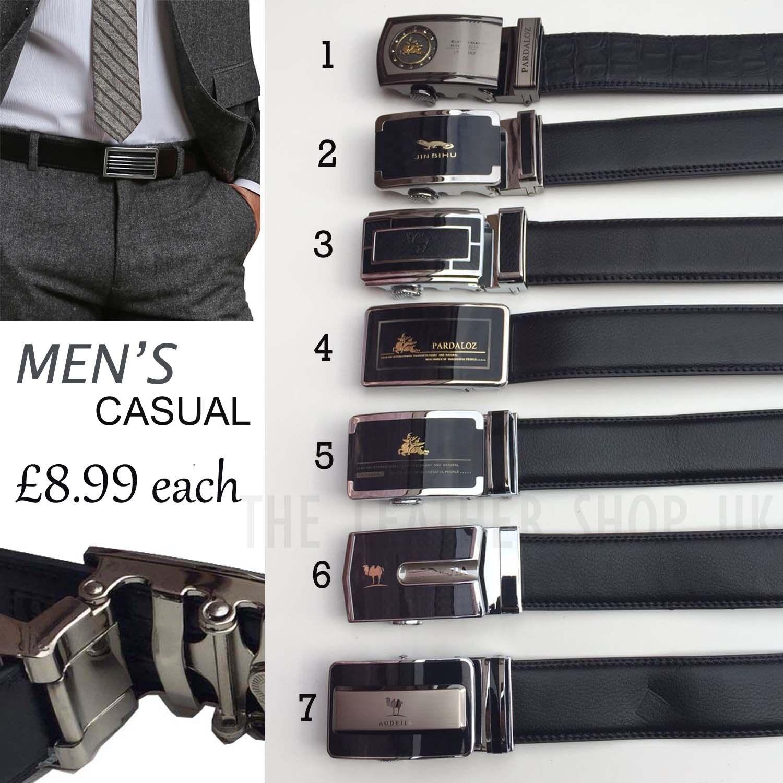 Mens Black Dress Leather Belt Ratchet Automatic Alloy Buckle Replacement