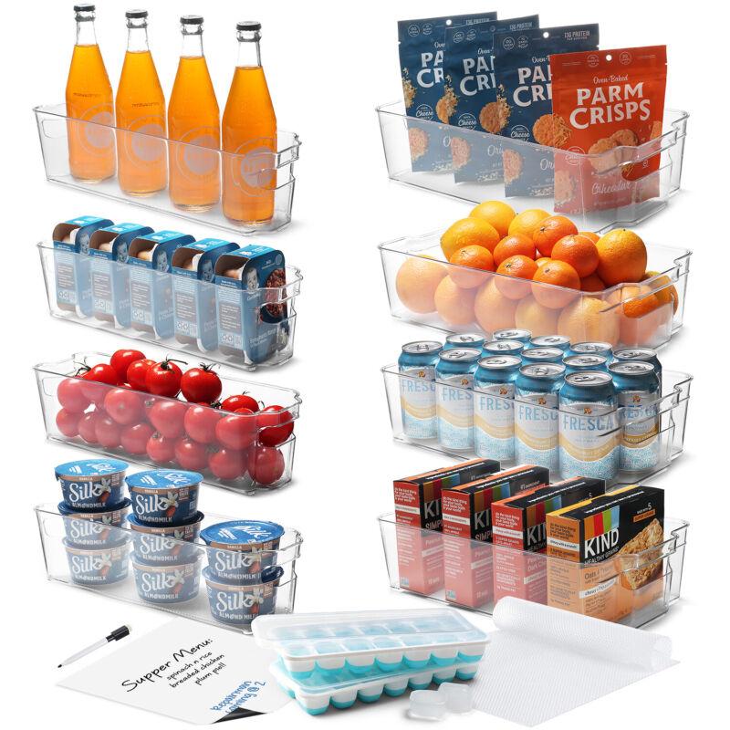 16 PC Refrigerator Organizer Set Clear Storage Bins for Fridge Freezer & Pantry