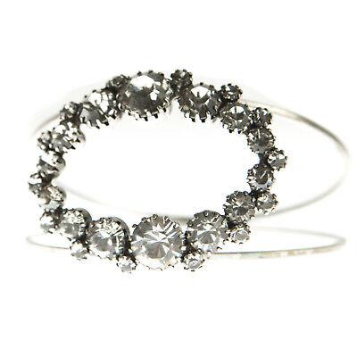 JOOMI LIM White Double Band Oval Crystal Bangle Bracelet NEW