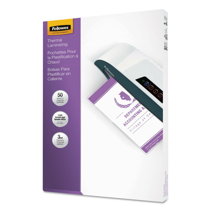 Fellowes Laminating Pouches 3mil 9 x 14 1/2 50/Pack 52226