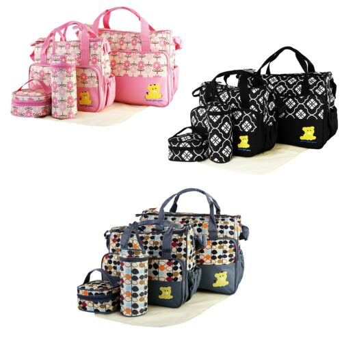 5 Pcs Baby Changing Diaper Nappy Bag Multi-functional Mummy