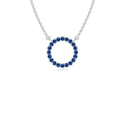 Best AAA Blue Sapphire Open Circle Pendant with 18