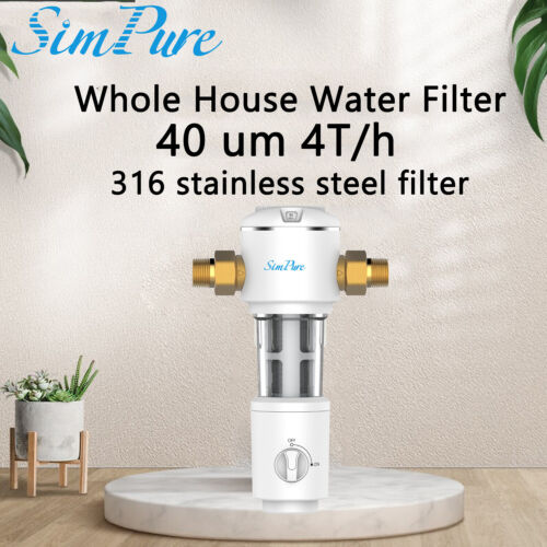 Whole House Sediment Water Filter Spin Down Home Filtration System – 40 Micron