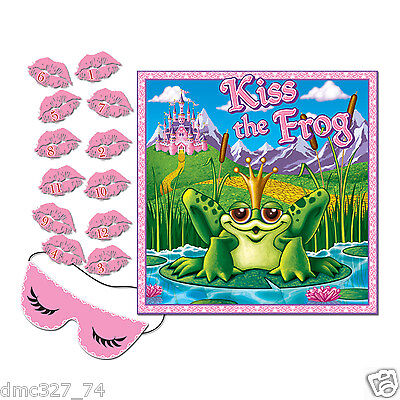 1 Girls PRINCESS Birthday Party Game PIN THE KISS ON THE FROG for 12 Guests](Birthday Games For Girls)