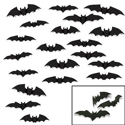 20 pc set HALLOWEEN Decorations Die Cut Cutouts BAT SILHOUETTES