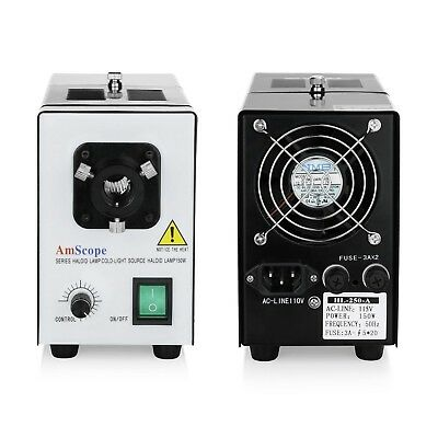 Amscope Hl250-b Fiber Optical Microscope Illuminator 150w Light Source