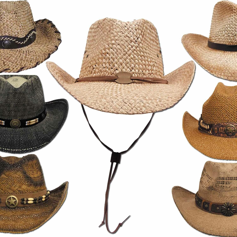 Westernhut mit Hutband Cowboyhut Hut Strohhut Sonnenschutz Karneval