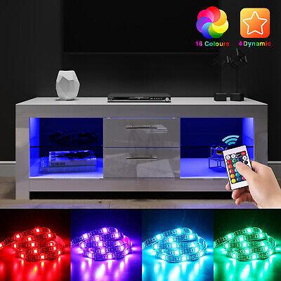 Modern White TV Unit Living Room Set Cabinet Stand Entertainment Gloss LED Light
