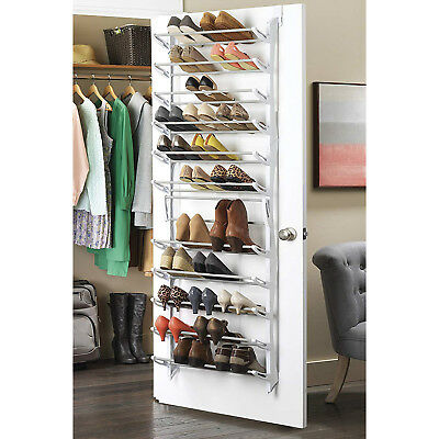 36 Pair Over The Door Hanging Shoe Rack 12 Tier Shelf Organizer Storage Stand ()