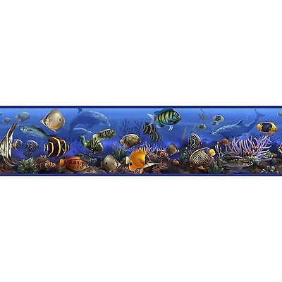 SEA WALL BORDER Room Decor Stickers Ocean Fish Dolphin Wallpaper Decals Blue