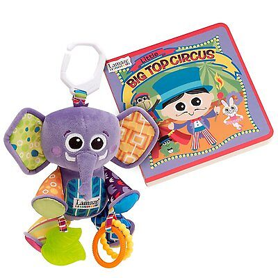 Lamaze Big Top Circus Gift Set w/ Eddie Elephant and book w/stroller Plush clip