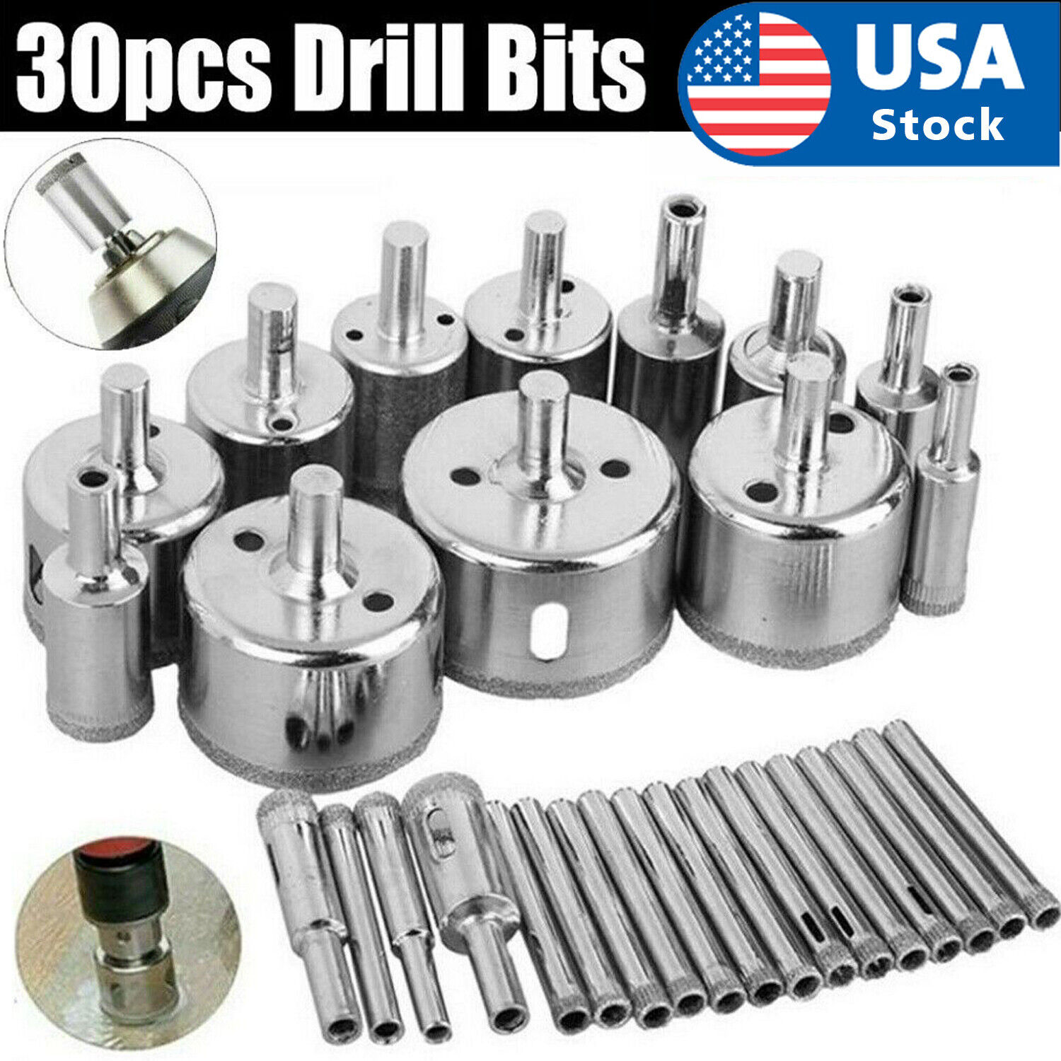 30pcs 6-50mm Diamond Core Hole Saw Drill Bits Tool Cutter For Tiles Marble Glass Drill Bits
