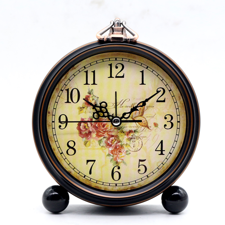 Classic Retro American Desktop Alarm Clock Silent Creative Mute Watch Bedroom