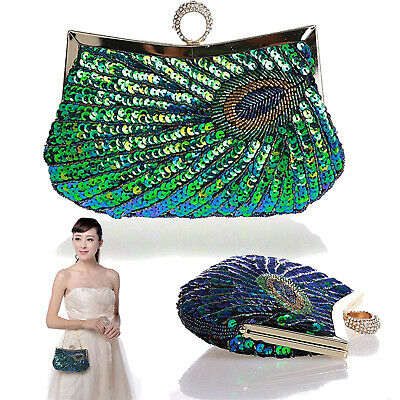 Halloween Bridal Makeup (Sequin Peacock Cosmetic Shoudler Bag Glitter Handbag Bling Evening Party)