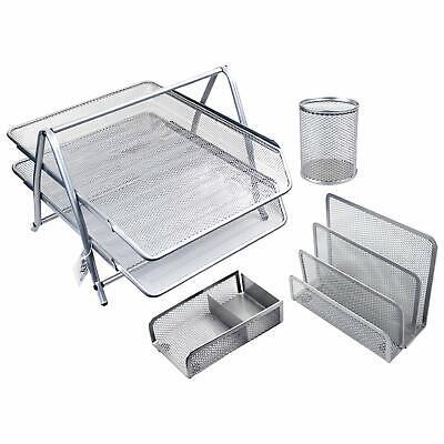 Mesh Metal Office Supplies Desktop Table File Desk Organizer Holder - 4 Pcs Set