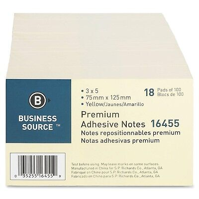 Sticky Notes 3 X 5 Yellow 100 Sheetspad 18 Pads