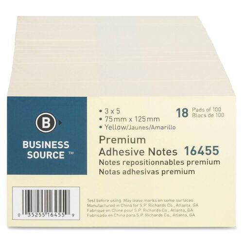 """Sticky Notes 3"""" x 5"""" Yellow 100 Sheets/pad, 18 Pads"""