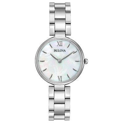 Bulova Women's Quartz Mother of Pearl Dial Silver Bracelet 27mm Watch 96L229