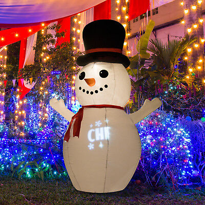 6Ft Airblown Inflatable Christmas Snowman LED Rolling Light Lawn Yard Decoration