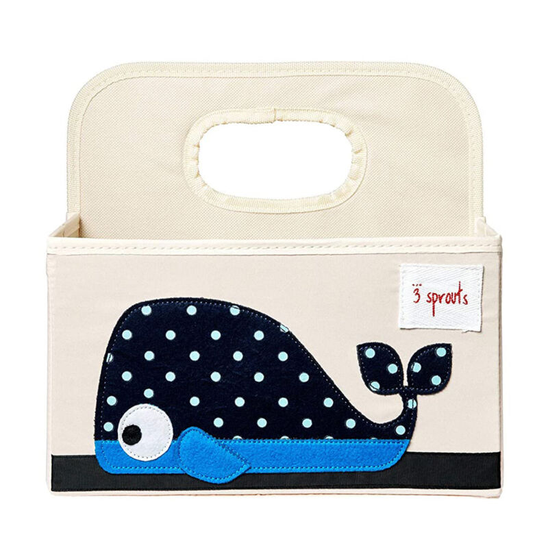 3 Sprouts UDOWHL Polyester Divided Portable Diaper Caddy with Blue Whale Design