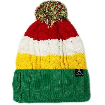 Bold Stripe Pom Pom Knit Winter Beanie, Kelly Green