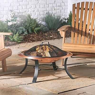 Copper Fire Pit Bowl Outdoor Garden Fire Pit Brazier Patio Heater BBQ Grill Wood
