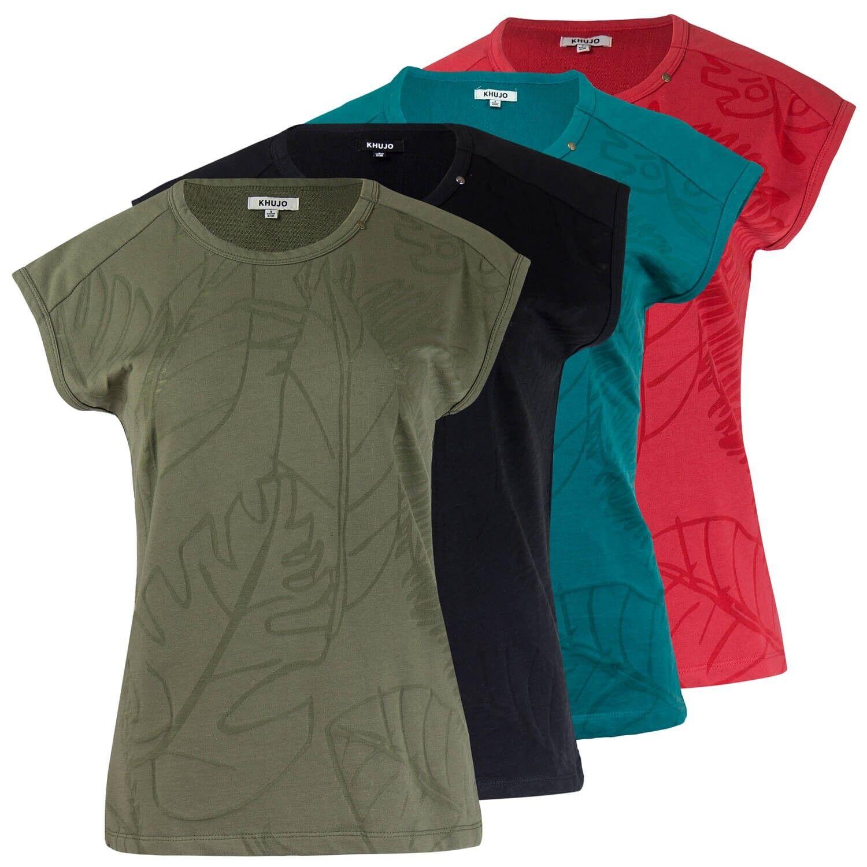 Khujo Damen T-Shirt Top Damenshirt transparentes Allover-Muster Ärmelloses Shirt
