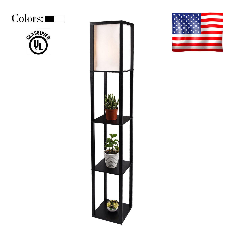 Modern Wood Shelf Floor Light Fabric Shade Lamp Storage Livi