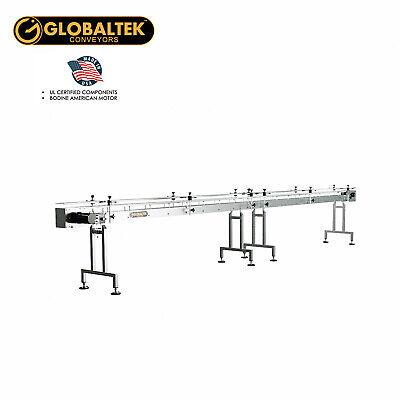 Globaltek 20x4.5 Ss Sanitary Raised Bed Conveyor With Table Top Plastic Belt