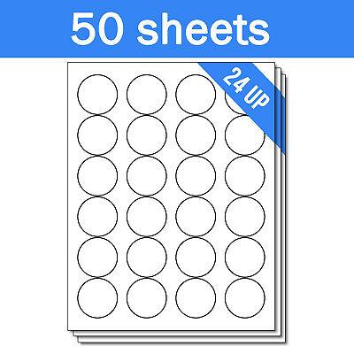 Round Circle Dot 1-23 Stickers Labels For Laser Inkjet Printer 1200 Sheets