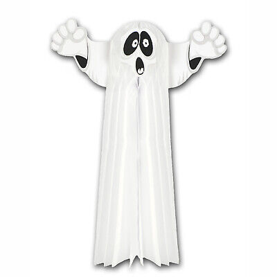80s Halloween Decorations (Vintage Halloween RETRO 80s 2-FT HANGING GHOST Tissue Honeycomb)