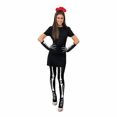Tag der Toten Kostüm Accessoire Set - Haarreifen Skelett Strumpfhose Handschuhe