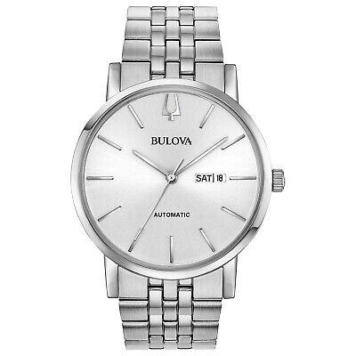 Bulova Men's Automatic Calendar Silver-Tone Bracelet 42mm Watch 96C140