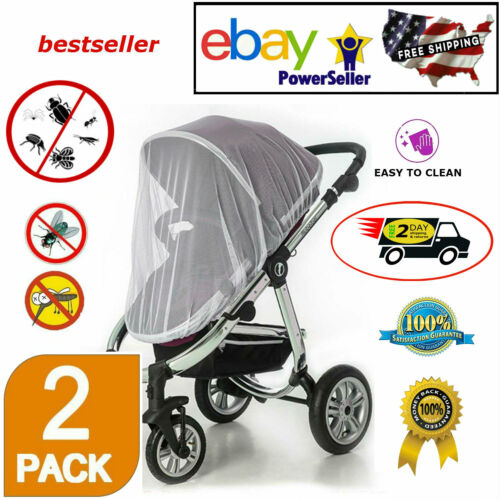 2 Pack Universal Baby Stroller Mosquito Insect Net Cover Pram Bassinet Car Seat