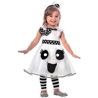 Geist Kostüm Gr.  98  Kleid + Haarreif Mädchen Halloween Kinder Karneval neu