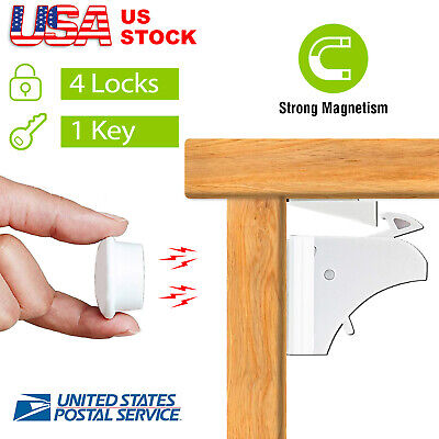 Safety Complete Magnetic Locking System (4 Locks, 1 Key) for Cabinet Drawer US