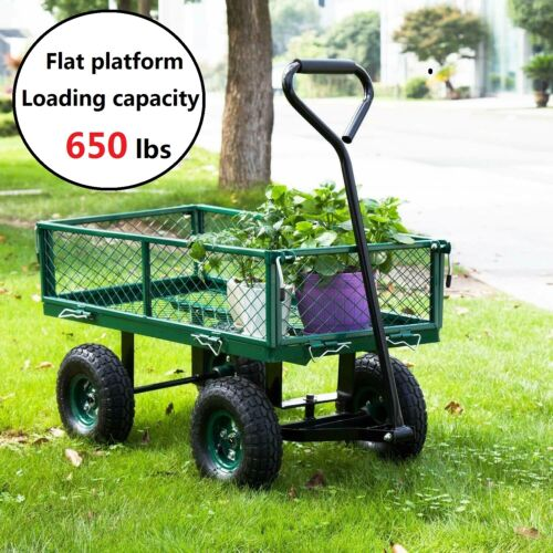 Outdoor Lawn Garden Cart Utility Yard Pull Wagon Trailer with Removable Sides