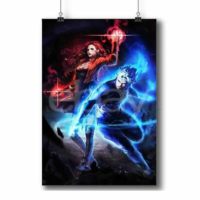 Quicksilver and Scarlet Witch New Custom Art Poster Print Wall Decor