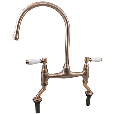 Traditional Antique Rose Copper Bridge Kitchen Sink Mixer Tap Dual Ceramic Lever