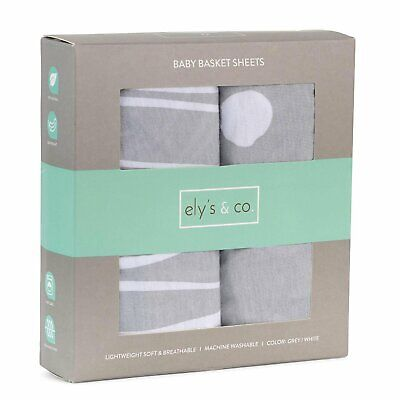Ely's & Co. Baby Basket Sheet 2 Pack - 100% Jersey Knit Co