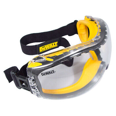 Dewalt Concealer Clear Anti Fog Dual Mold Safety Goggle Glasses Z87