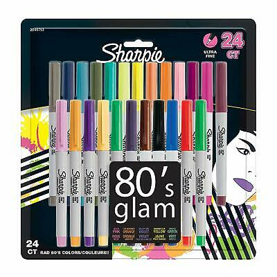 Sharpie Permanent Markers, Ultra-Fine Point, 80s Glam Colors, 24 Pack (80s Glam Sharpies)