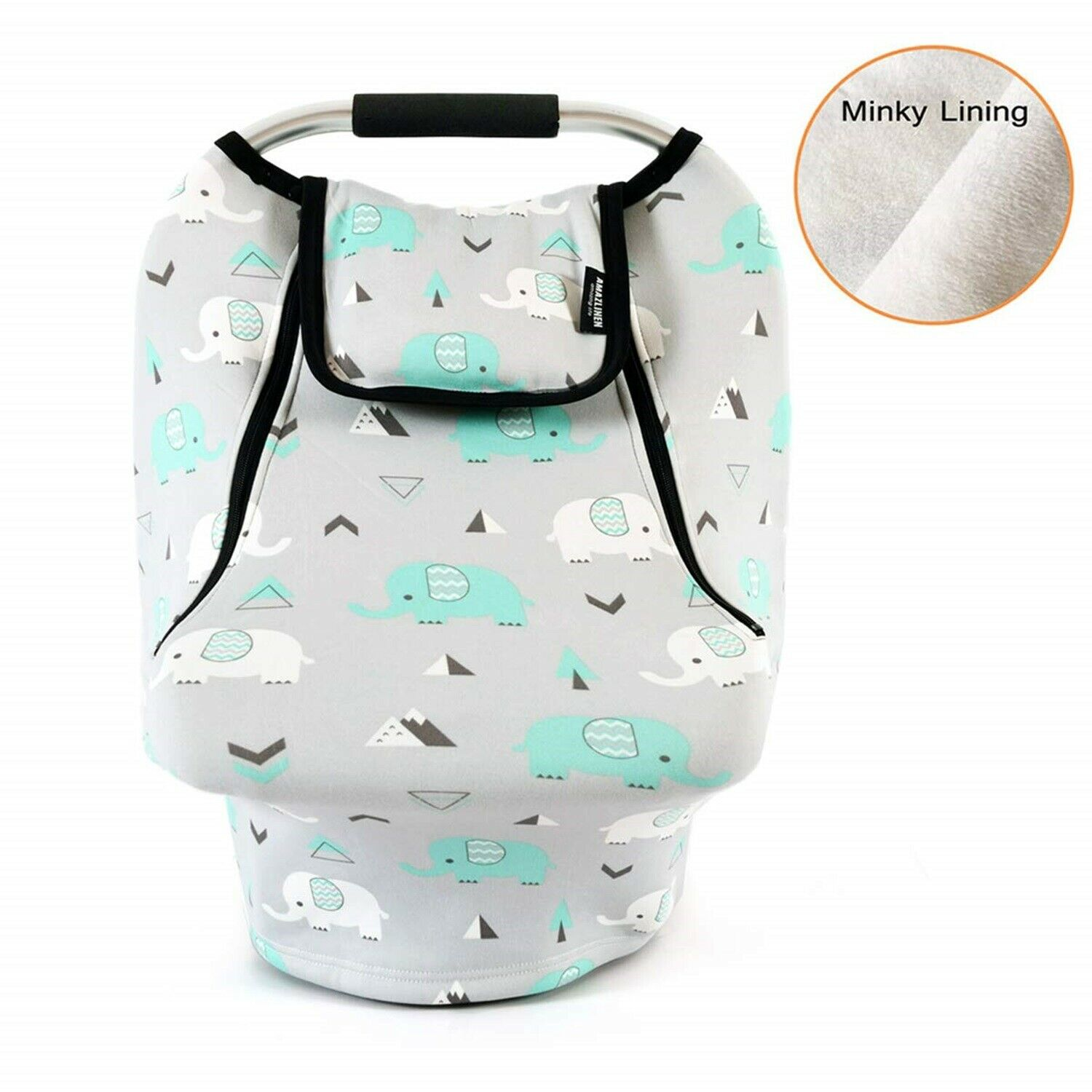 Car Seat Cover Elephants Stretchy Babys Infant Canopy Winter