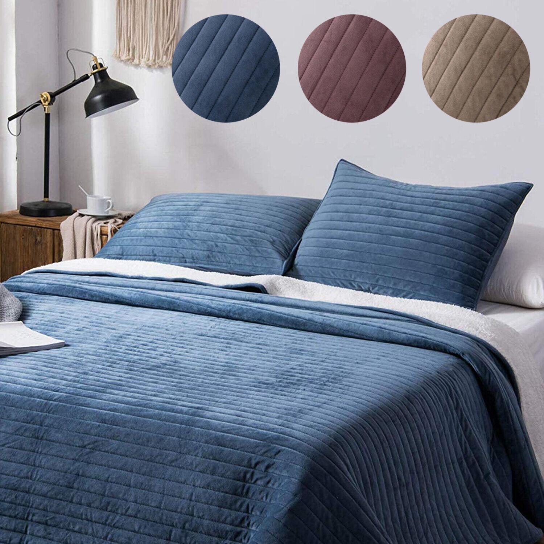 3 pieces sherpa flannel fleece bedding cozy