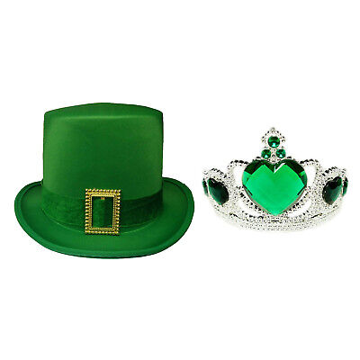St. Patrick's Day Leprechaun Green Satin Top Hat W/Buckle And Green Heart - Top Hats And Tiaras