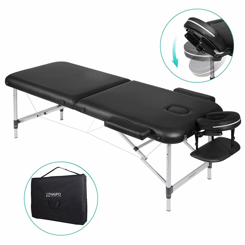 NAIPO Massageliege Klappbar Massagebett mit 2 Zonen höhenverstellbar Alu-Füße