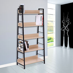 Bookcase-5-Tier-Shelves-Bookshelf-Display-Wood-Storage-Home-Office-Organizer-New